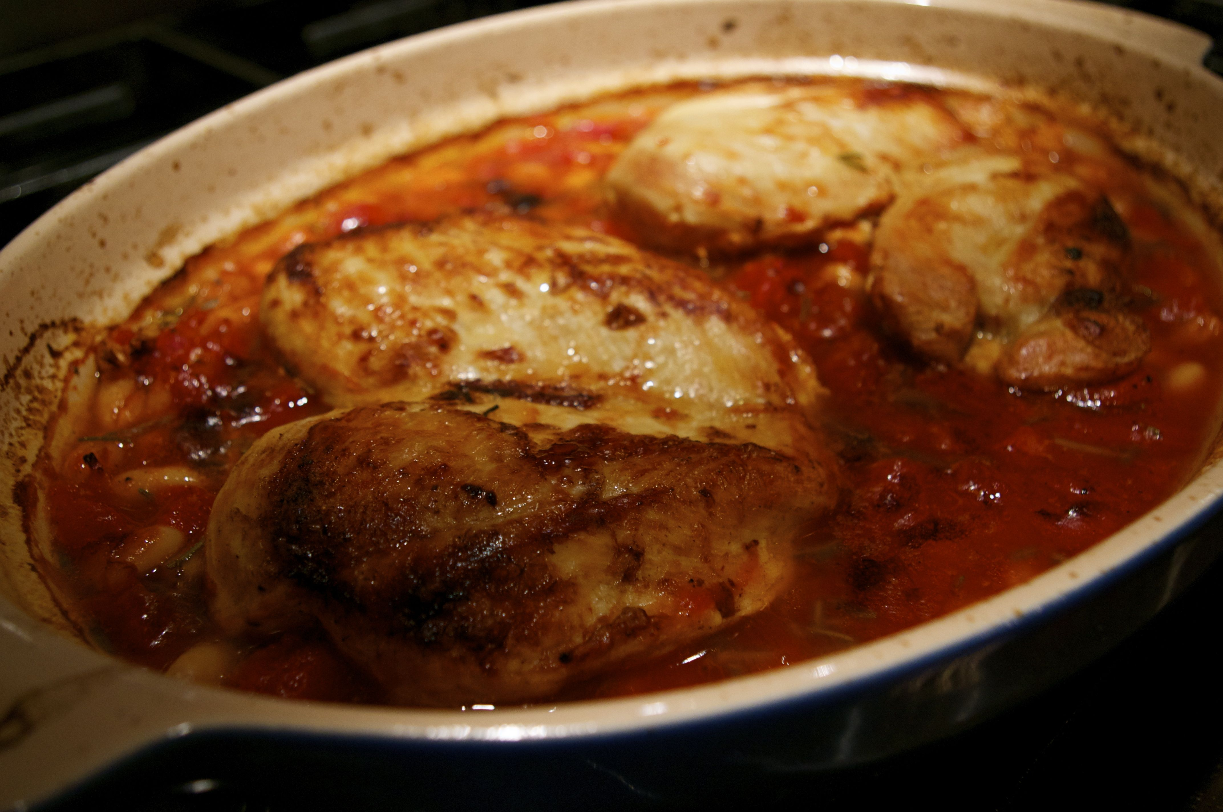 Baked Chicken With White Beans And Tomatoes Recipe — Dishmaps