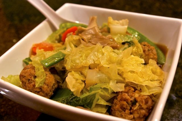 Pork Lemongrass Meatballs and Oriental Vegetable Noodle Soup