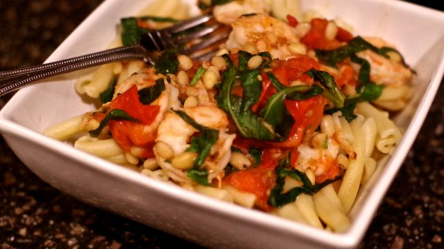 Shrimp, pine nuts and basil are quick to prepare.