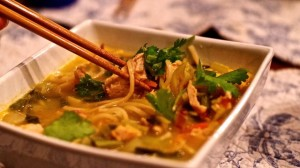 Thai Chicken Ramen soup is all that - slurpy, chicken goodness all wrapped up in one bowl. It's spicy, too!