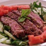 Flank Steak with Watermelon-Cucumber Salad