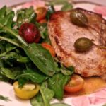 Pan roasted pork chops with capers