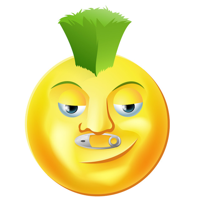 The green tuft dude emoticon says it's all about how cool you are to buy leafy greens. The safety pin under his nose reminds you that there are some hazards associated with all that bulk.