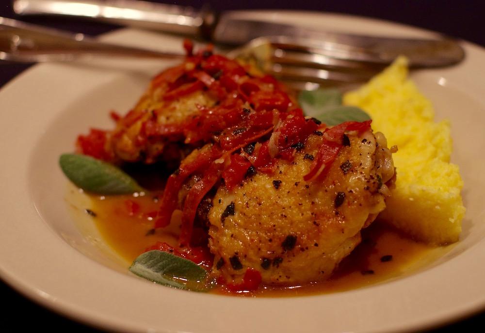 Chicken with Tomatoes and Serrano Ham