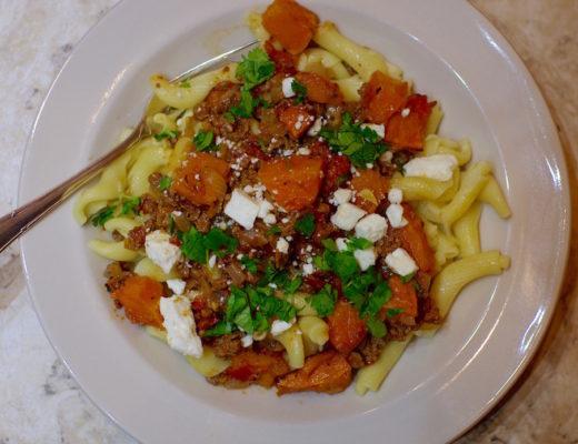 Greek Pasta with Lamb, Butternut Squash and Feta