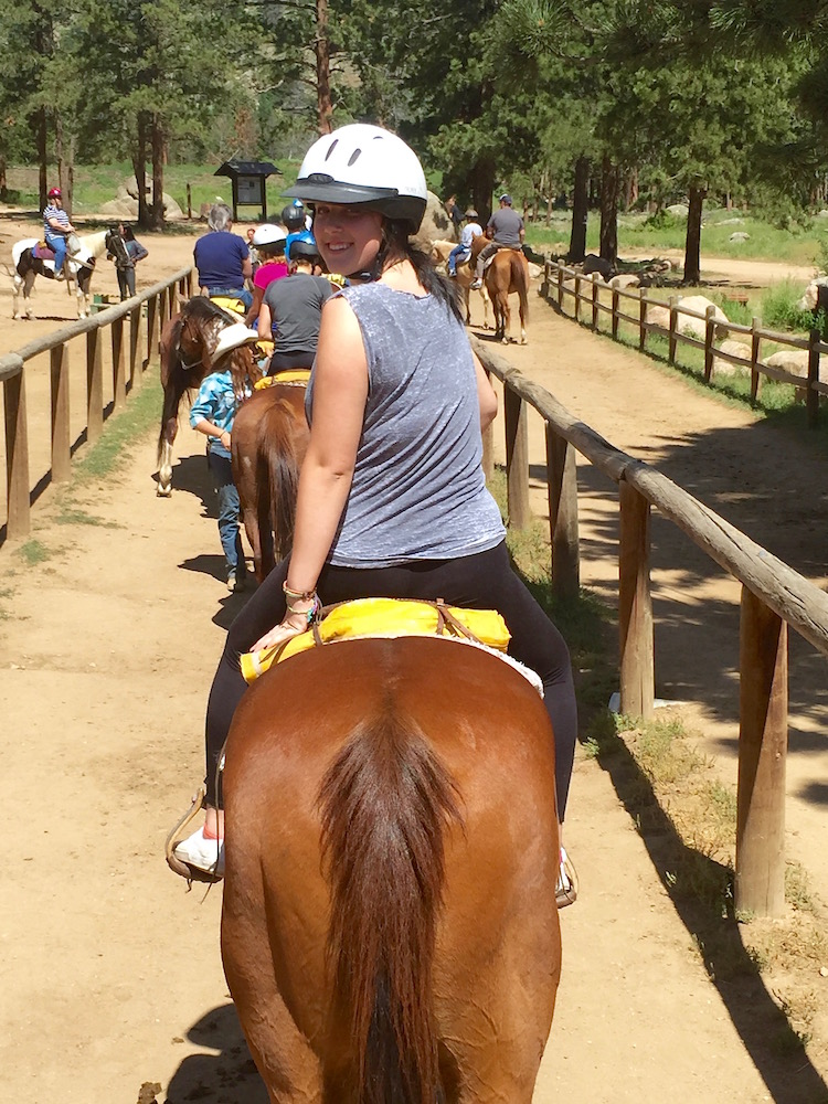 June 2015 finds Rose on horseback at the Estes Park YMCA for a PMY organized group activity. Photo credit: Gail Goodman.