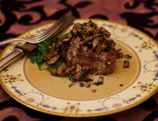 Sous vide filet mignon with mushroom cream sauce