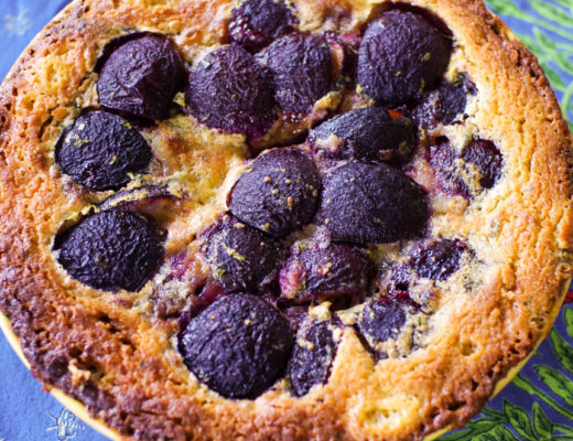 Plum Basil Tart with Chickpea Crust