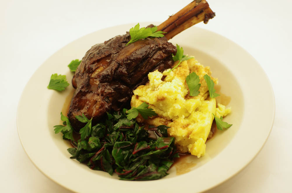 Lamb Shanks with Red Wine Sauce and Herbs