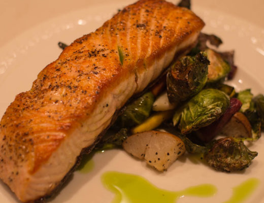 Pan-Roasted Salmon with Chive Oil