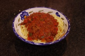 Spaghetti with Italian Sausage and Peppers plated