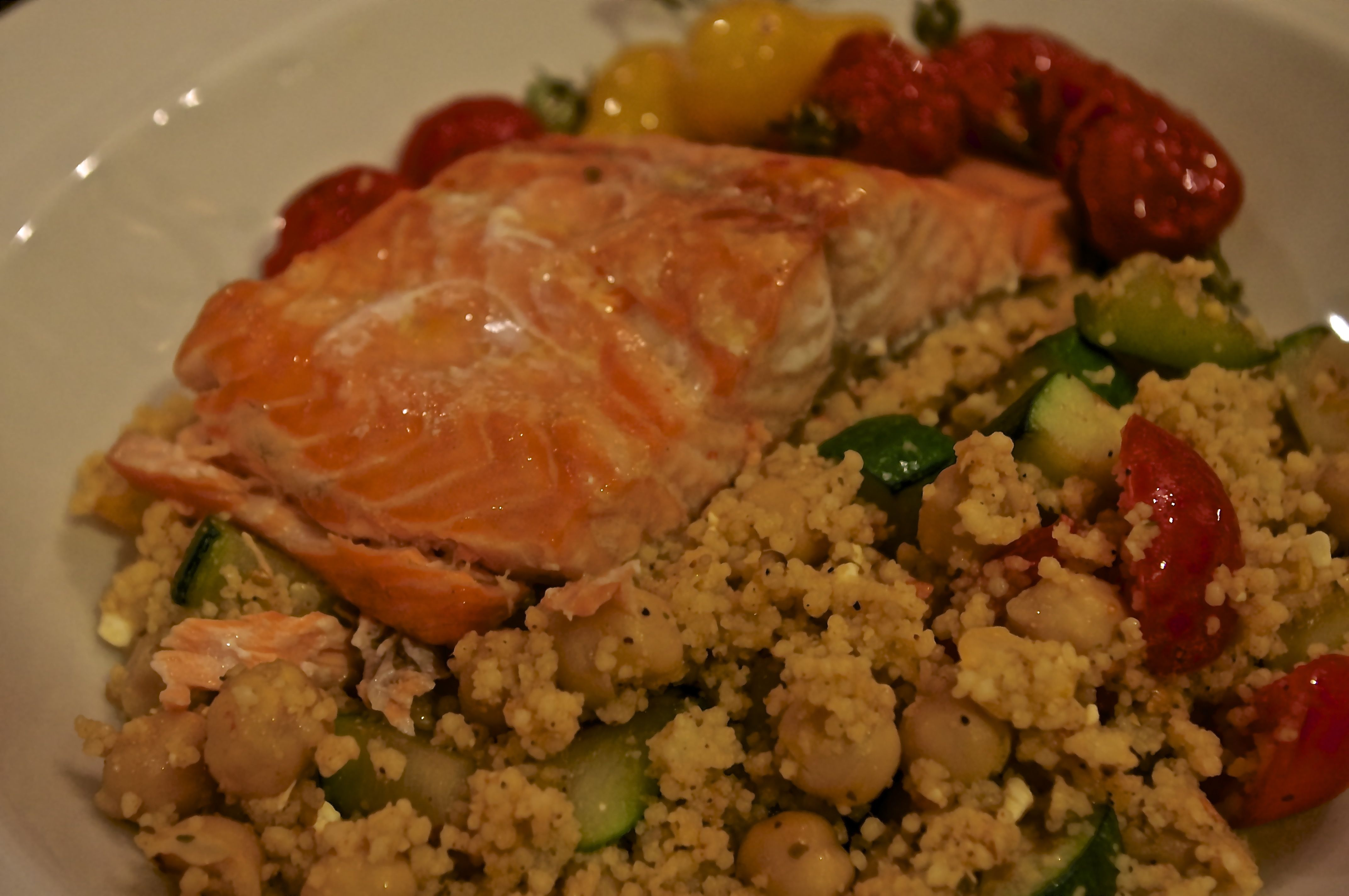 roasted salmon fillets with tomatoes and feta couscous. Black Bedroom Furniture Sets. Home Design Ideas