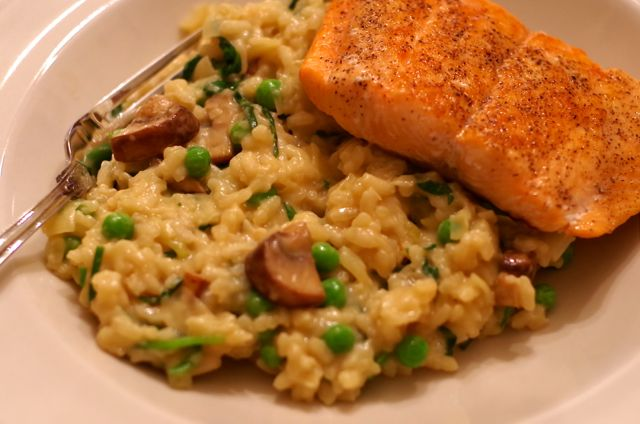 Risotto only sounds difficult, but all it takes is about twenty minutes of stirring time. Quickly sear the fish, and dinner is ready!