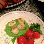 Perfect for easy summer entertaining, sweet sea scallops pair with a subtly flavored pea and leek country style sauce.