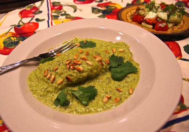 Baked Salmon with Tomatillo Sauce