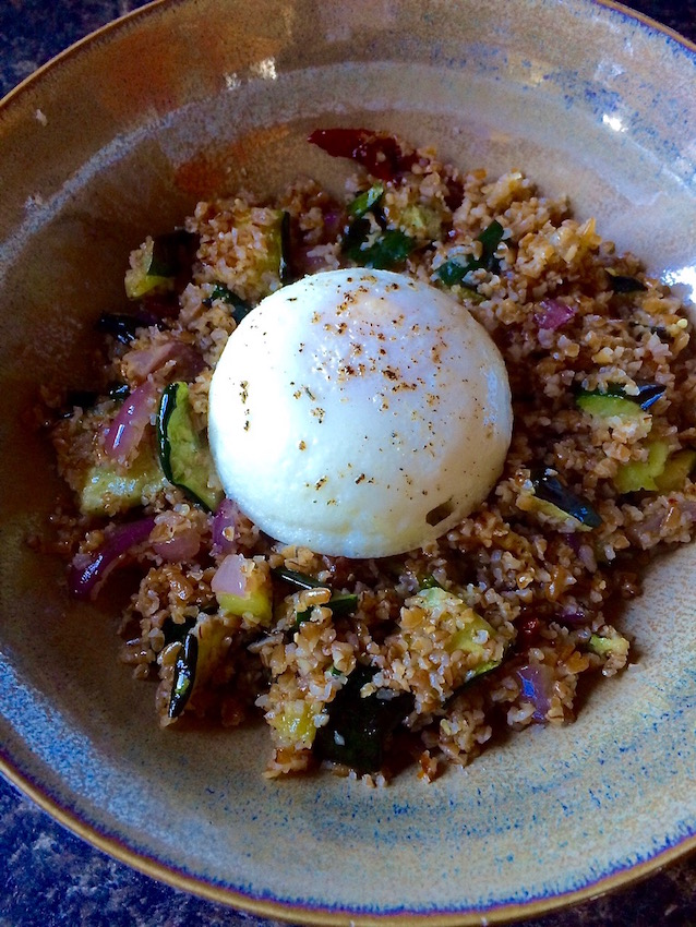 Bulgur with Zucchini and Poached Egg