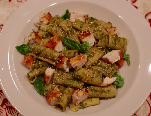 Roasted Chile Pesto Pasta with Grilled Chicken