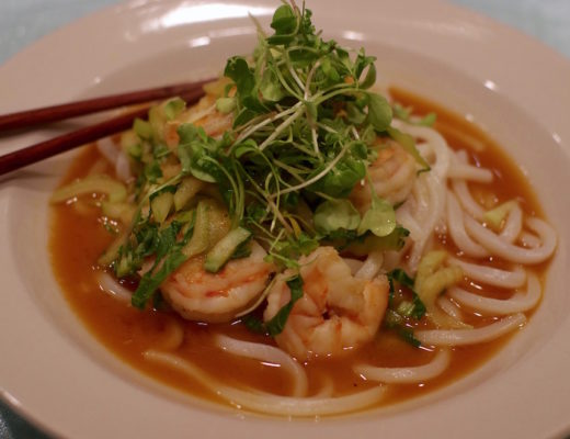 Spicy Shrimp Pho with Udon Noodles