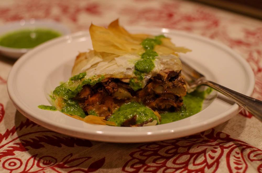 Lamb and Eggplant Phyllo Pie