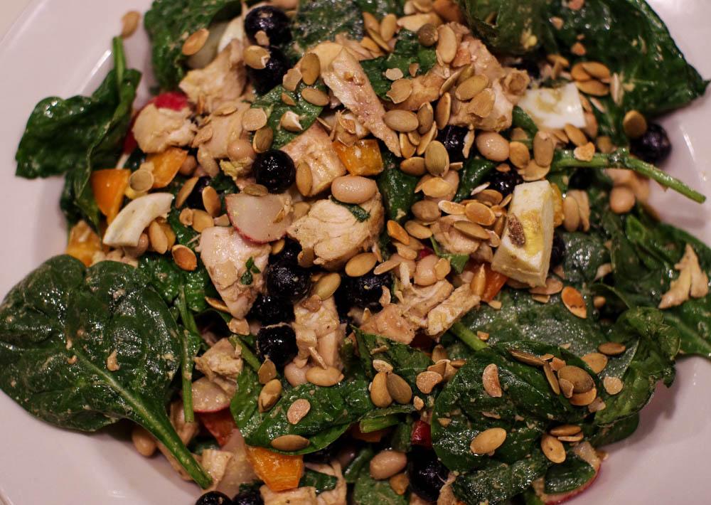 rotisserie chicken spinach salad