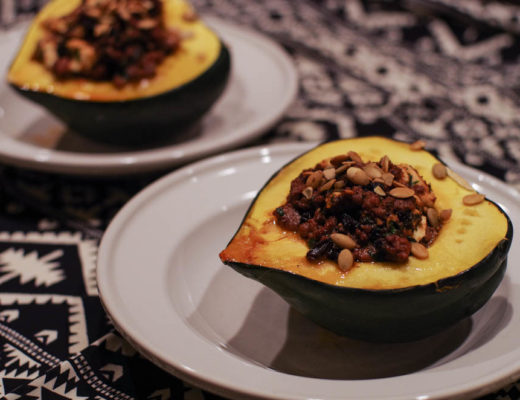 Acorn Squash with Ground Lamb and Feta