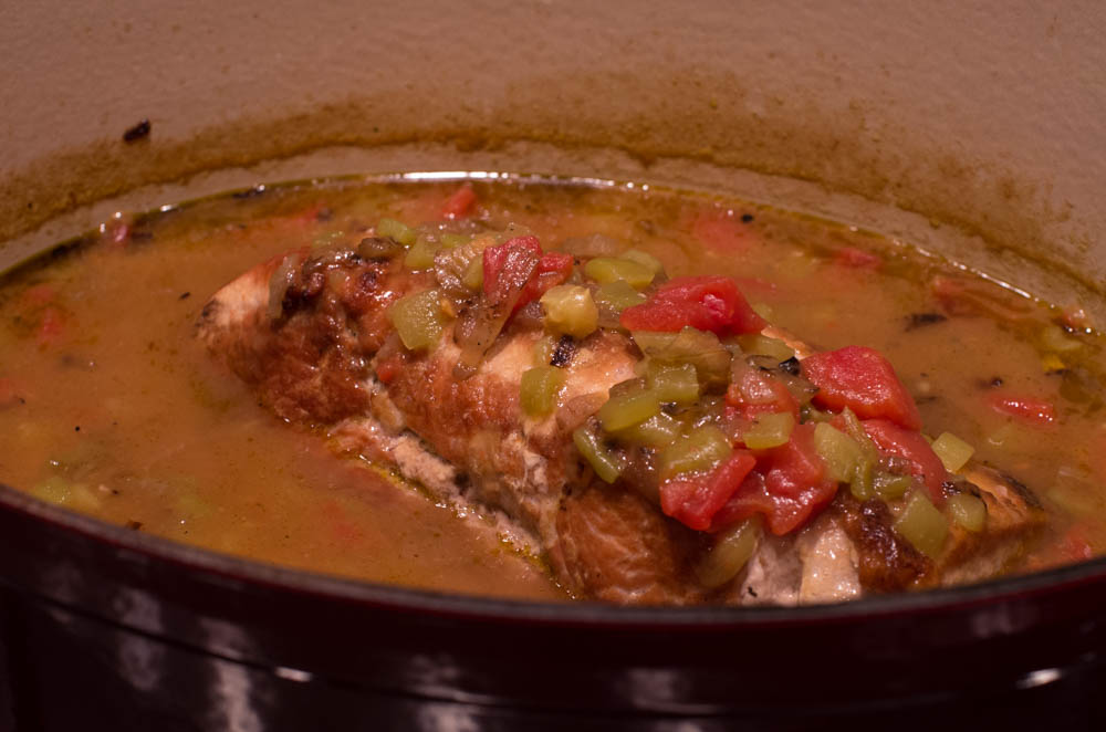 Braised Pork Loin with Green Chile Enchilada Sauce