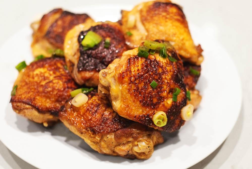 Sake braised chicken thighs