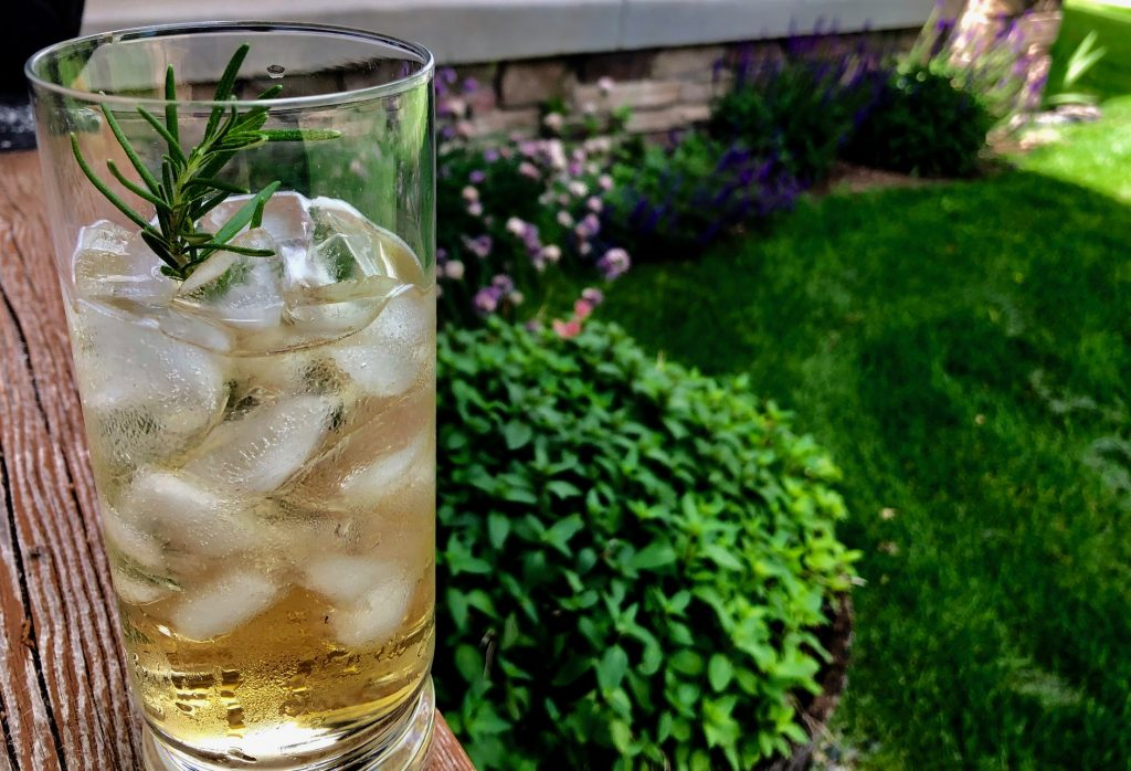 Cider cocktail with rosemary sprig